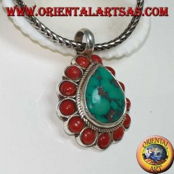 Silver pendant with natural teardrop turquoise and 13 natural corals of 4mm diameter.