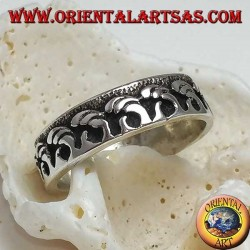 Silver band ring, low relief sea waves