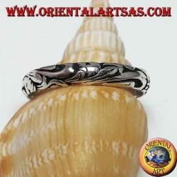 Серебряное кольцо, 4 мм резное кольцо