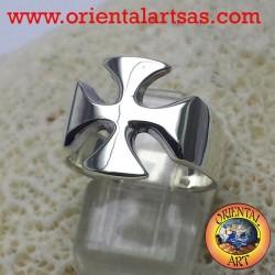 Anello croce dei cavalieri dei templari in argento