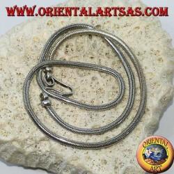 Collier en argent, serpent indien longueur 45 cm, épaisseur mm. 2.8