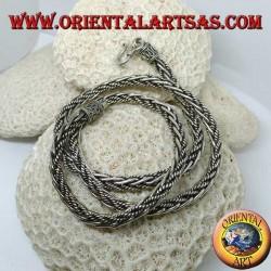 Collana in argento, treccia mista liscia ed attorcigliata da cm. 60