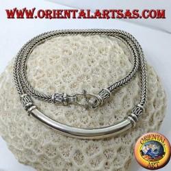 Серебряное колье, квадратная оплетка с гладкой трубчатой вставкой
