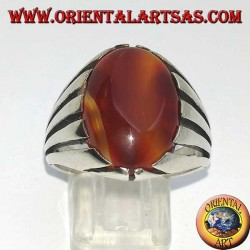 Silver ring with carnelian banded with an oval cabochon