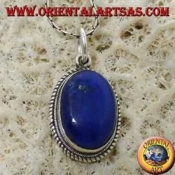 Pendentif en argent avec lapis-lazuli ovale naturel et bord tressé