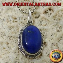 Silver pendant with natural oval lapis lazuli and braided edge