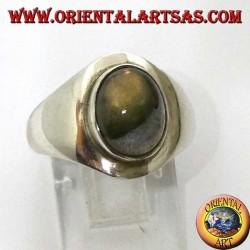 Простое серебряное кольцо с овальным лабрадоритом
