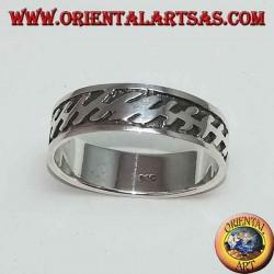 Anello a fascia in argento con fulmine a bassorilievo