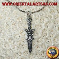 Ciondolo in argento daga romana con decorazioni (pugnale)
