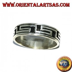 Silver band ring with Greek bas-relief ring