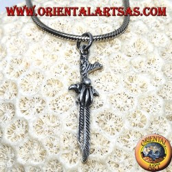 Celtic dagger silver pendant with curved handle