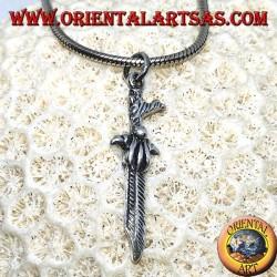 Кельтский кинжал серебряный кулон с изогнутой ручкой
