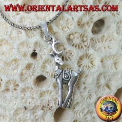 Silver pendant, the fawn (noble deer) reindeer
