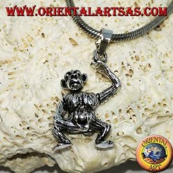 Silver pendant, monkey who masturbates moving his head his arms