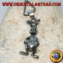 """Ciondolo in argento il coniglio muove le gambe le braccia e la testa """"Roger Rabbit"""""""