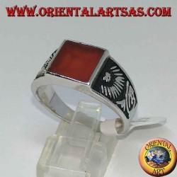 Серебряное кольцо с квадратным сердоликом