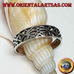 Sterling Silber Ring mit floralen Laubsägearbeiten