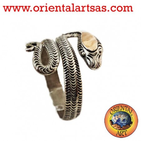 Silver snake ring with gold head