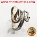 Anello d'argento serpente con testa oro