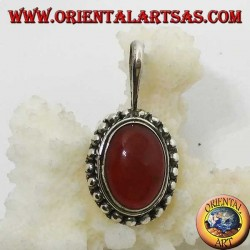 Silver pendant with oval carnelian and border with dots
