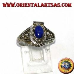 Bague poison en argent faite à la main avec lapis-lazuli ovale
