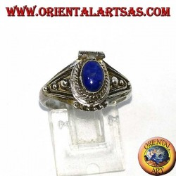 Silver small poison ring handmade with oval lapis lazuli