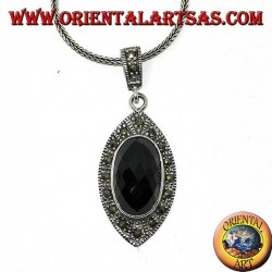 Silver pendant with faceted oval onyx and marcasite
