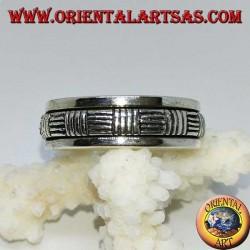 Anello girevole d'argento ( Antistress ) con righe orizzontali e verticali