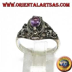 Серебряное кольцо, держатель яда (маленький) с овальным аметистом ручной огранки