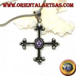 Ciondolo in argento, croce ancorata con ametista ovale sfaccettata