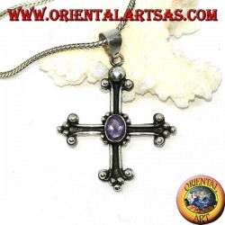 Silver pendant, cross anchored with faceted oval amethyst