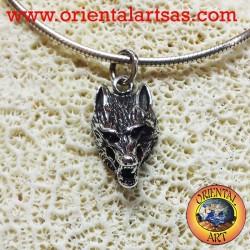 ciondolo testa di lupo in argento