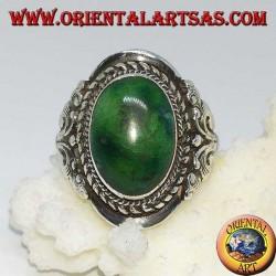 Anello fatto a mano in Nepal in argento con turchese antico Tibetano naturale