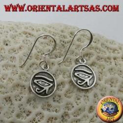 Orecchino in argento pendente dell'occhio di Ra Horus a bassorilievo (piccolo)