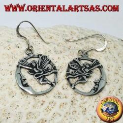 Серебряные серьги фея с луной