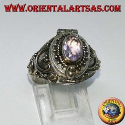 Box silver ring with amethyst and baroque decorations (poison holder)