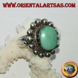Silver ring with antique Tibetan turquoise oval edged with hemispheres