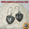 Silver earrings in the shape of a double-sided heart in baroque style