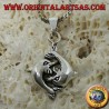 Silver pendant of two dolphins in love playing