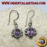 Silver dangling earrings with natural oval faceted Amethyst (handmade)