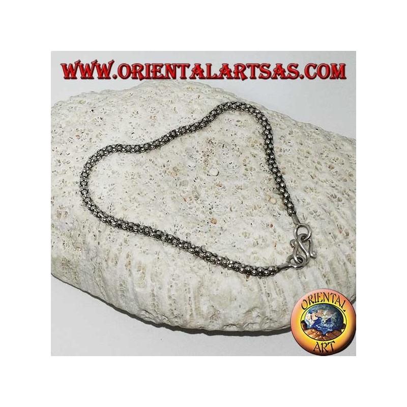 Silver bracelet Venetian round knit of mm. 27