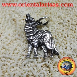 Silver Pendant 925 Wolves chewing