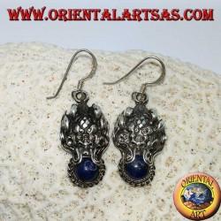 Boucles d'oreilles en argent, tête de dragon avec lapis lazuli dans la bouche