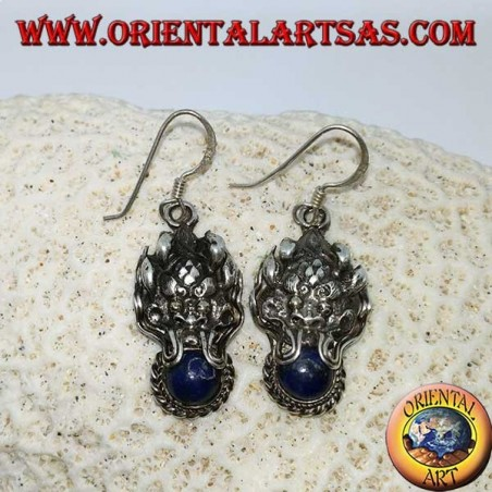 Silver earrings, Dragon's head with lapis lazuli in the mouth
