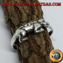 Bague en argent, crocodile en alligator