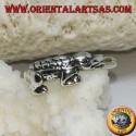 Silver ring, alligator crocodile