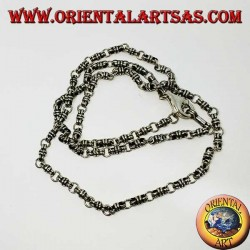 Silberhalskette (925 ‰) Knoten und Ring 60 cm lang