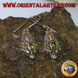 Boucles d'oreilles tête de dragon en argent avec péridot et plaques d'or
