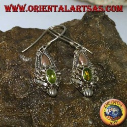 Silver dragon head earrings with peridot set and gold plates