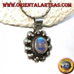 Ciondolo in argento con labradorite ovale fluorescenza blu bordo sfera su semisfera